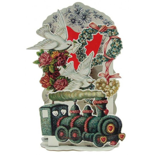 Locomotive with Doves Pop Out Valentine Card