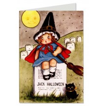 Pair of Adorable Girl Witch Halloween Note Cards
