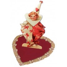 Red and White Valentine Clown with Bows Easel Card
