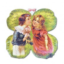 Petite Children on Shamrock Enclousure Valentine Card