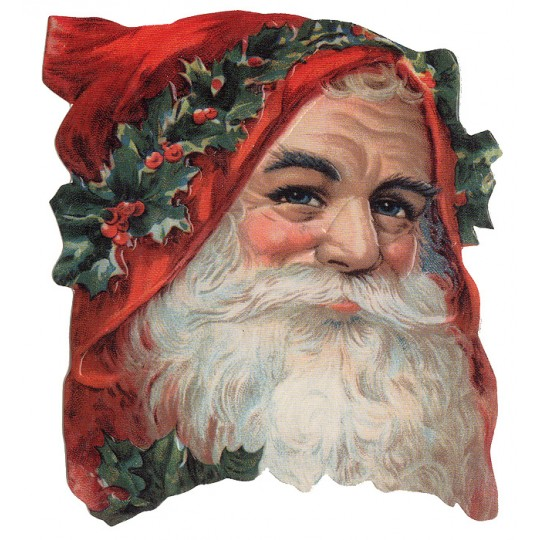 Standing Victorian Santa with Holly Christmas Card