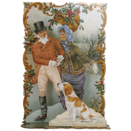 Pop-up Dickensian Couple Christmas Card ~ England