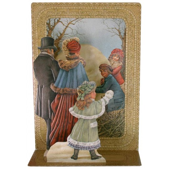 Pop-up Victorian Snowball Fight Christmas Card ~ England