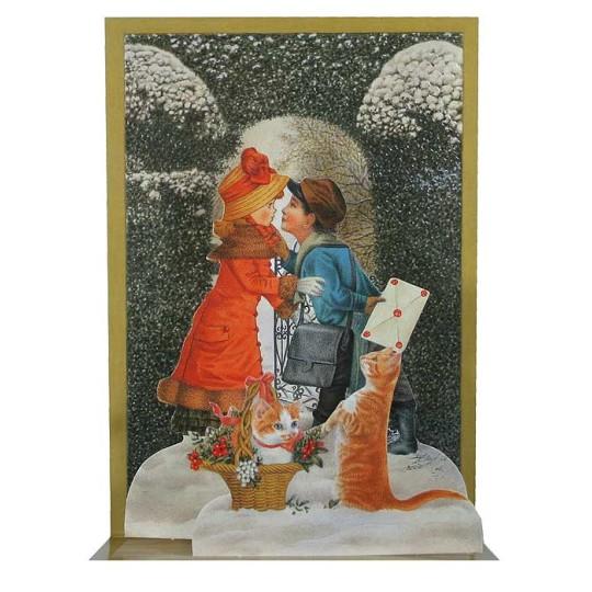 Pop-up Victorian Children & Kitties Christmas Card ~ England