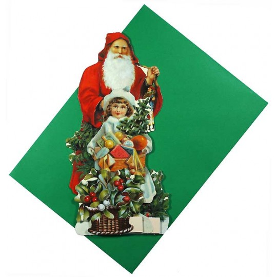 Christmas Decorations In Victorian England: Pull-out Victorian Red Santa Christmas Card