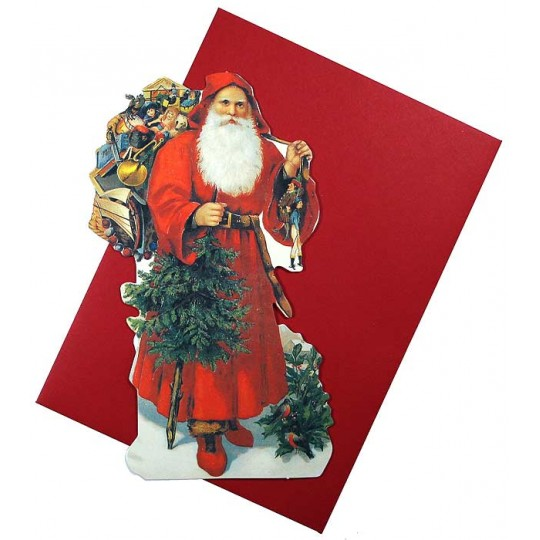 Victorian Red Coated Santa Christmas Card ~ England