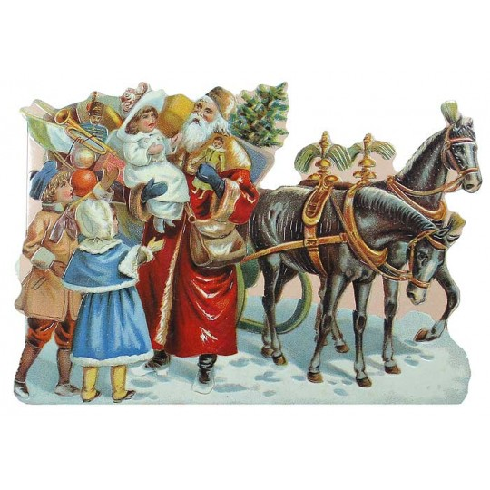 Christmas Decorations In Victorian England: Victorian Santa And Sleigh Christmas Card