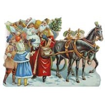Victorian Santa and Sleigh Christmas Card ~ England