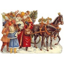 Victorian Santa with Horses Christmas Card ~ England