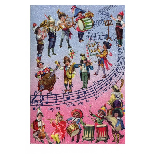 Beautiful Victorian Musicians Glittered Happy Birthday Card ~ Germany