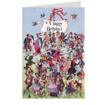 Beautiful Victorian Dancers Glittered Happy Birthday Card ~ Germany