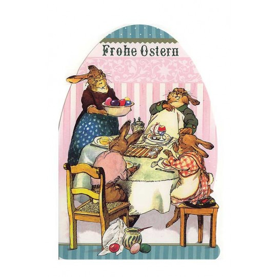 Die Cut Bunny Easter Breakfast Egg Card ~ Germany