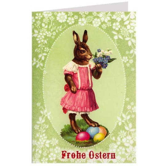 Green Bunny with Eggs Glittered Easter Card ~ Germany