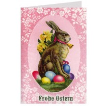 Pink Bunny with Eggs Glittered Easter Card ~ Germany
