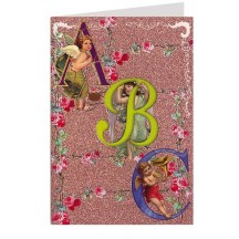 Beautiful Victorian Angels ABC Glittered Card ~ Germany