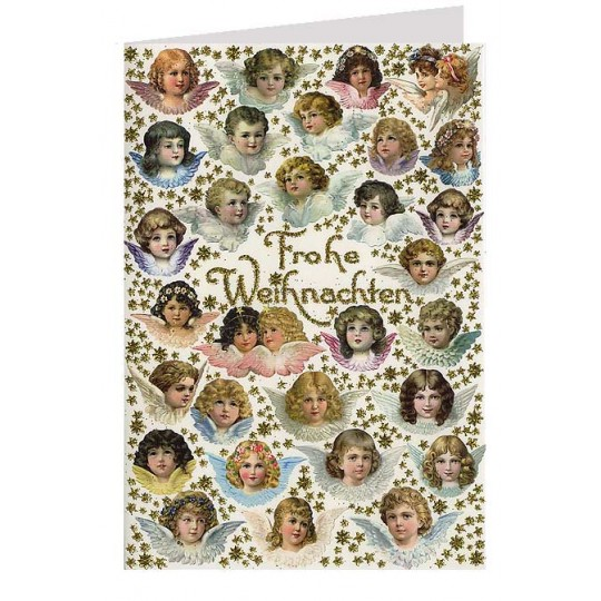 Christmas Angels Glittered Christmas Card ~ Germany