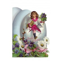 Die Cut Victorian Egg & Flower Easter Card ~ Germany