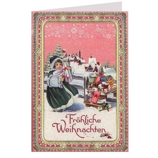 Many Presents Glittered Christmas Card ~ Germany
