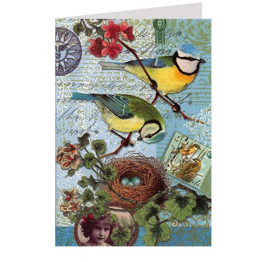 Blue Birds and Nest Collage Style Glittered Card ~ Germany