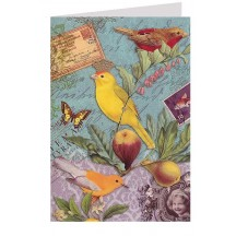 Birds and Fruit Collage Style Glittered Card ~ Germany