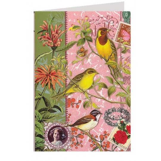 Birds and Flowers Collage Style Glittered Card ~ Germany