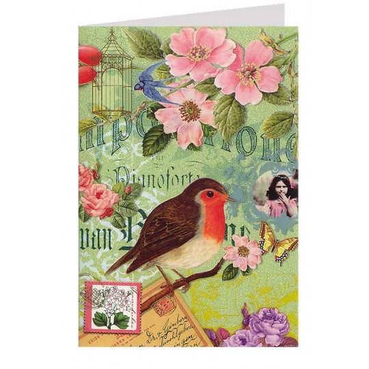 Robin and Flowers Collage Style Glittered Card ~ Germany