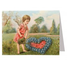 Angel Watering Flowers Valentine Card