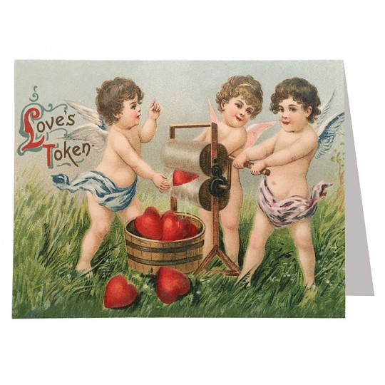 Cherubs Washing Hearts Valentine Card