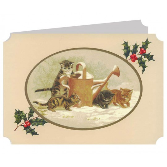 Cats with a Watering Can Catland Christmas Card ~ England