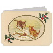 Cats on a Seesaw Catland Christmas Card ~ England