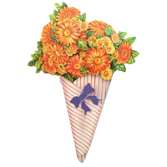 Orange Daisies 3-D Flower Bouquet Card ~ England