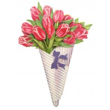 Pink Tulips 3-D Flower Bouquet Card ~ England