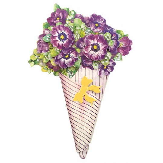 Purple Anemone 3-D Flower Bouquet Card ~ England