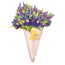 Blue and Purple Iris 3-D Flower Bouquet Card ~ England