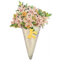 Tiger Lily 3-D Flower Bouquet Card ~ England