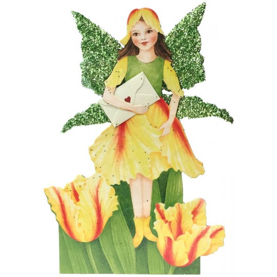 Yellow Tulip Fairy Messenger Glittered 3-D Card ~ England