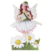 White Daisy Fairy Messenger Glittered 3-D Card ~ England