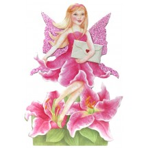 Pink Lily Fairy Messenger Glittered 3-D Card ~ England