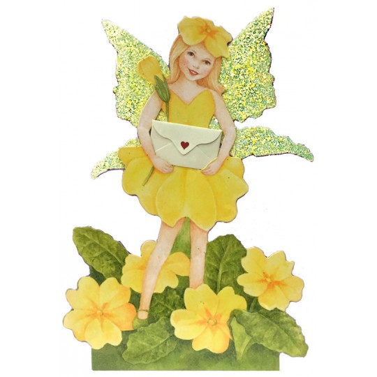 Yellow Primrose Fairy Messenger Glittered 3-D Card ~ England