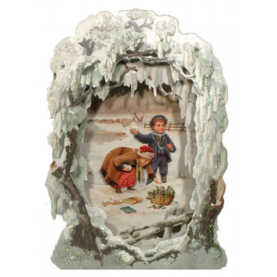 Christmas Snowball Children Winter Scene 3-D Christmas Card ~ England