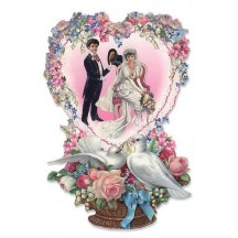 Die Cut Bride and Groom Wedding Card ~ Germany