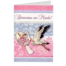 Beautiful Baby and Stork Glittered Card ~ Germany
