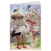 Stork Nest and Babies Glittered Card ~ Germany