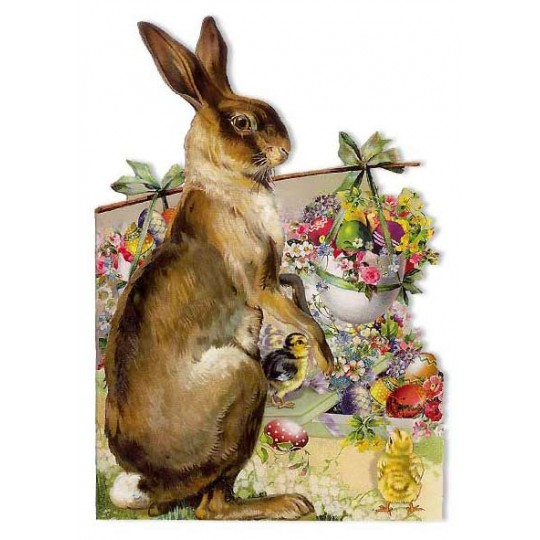 Die Cut Vintage Bunny Easter Card ~ Germany