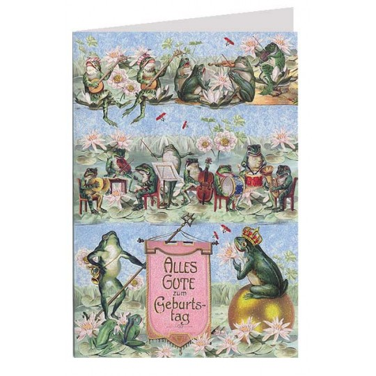 Musical Frogs Glittered Birthday Card ~ Germany