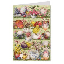 Green Joyeuses Paques Chicks and Eggs Card ~ Germany