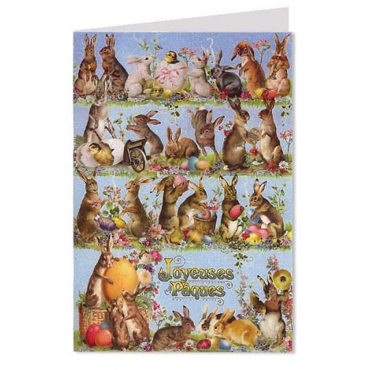 Blue Joyeuses Paques Bunnies and Eggs Card ~ Germany