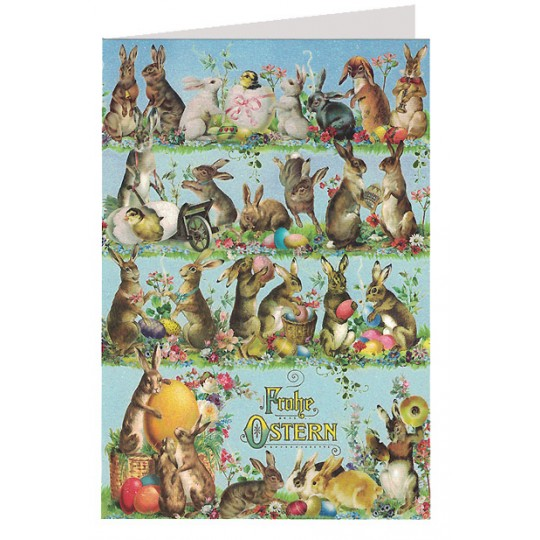Blue Frohe Ostern Bunnies And Eggs Card Germany