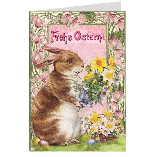 Art Nouveau Brown Bunny with Flowers Easter Card ~ Germany