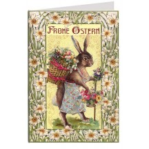 Art Nouveau Bunny With Flower Basket Easter Card Germany
